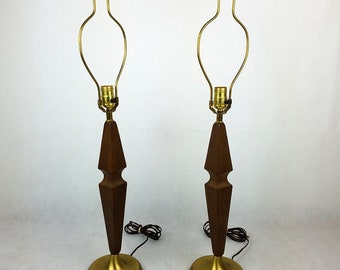 "Vintage Mid Century Modern Table Lamp Pair Wood with Gold Base Danish 30"" Height"