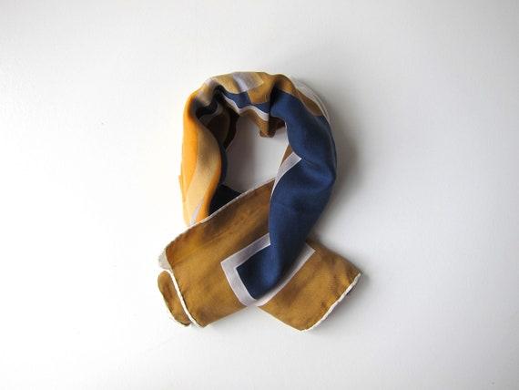 70s Silk Neck Scarf   Modern Blue Olive Yellow Abstract Silk Bandanna Vintage