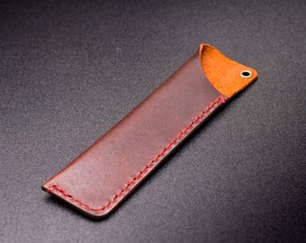 Leather pen sleeve, handmade by The Acadian | mother's day | gift for writer || The Rangeley