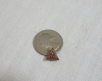 Vintage KYW Red Enamel Triangle Pin