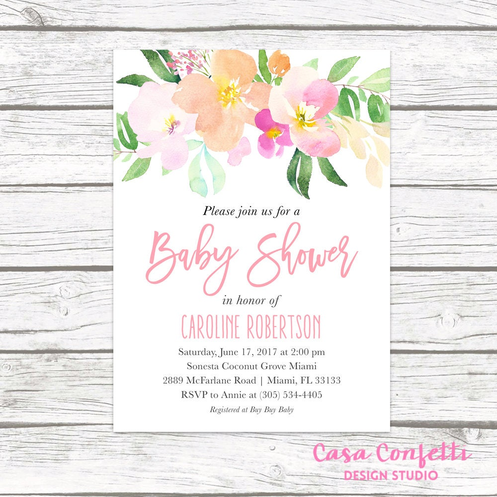 Baby shower invitation pink floral baby shower invitation garden baby shower invitation pink floral baby shower invitation garden baby shower invite rustic baby shower girl baby shower invitation filmwisefo Images