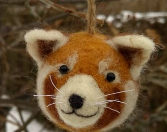 Needle felted red panda -ornament, decoration, soft sculpture, collectable