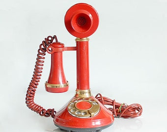 Vintage 70's Red Gold Candlestick Telephone Phone Rotary Dial Deco-Tel