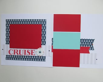 Cruise Away Premade or DIY Kit,12x12 Scrapbook Layout,Scrapbook Page Kit,