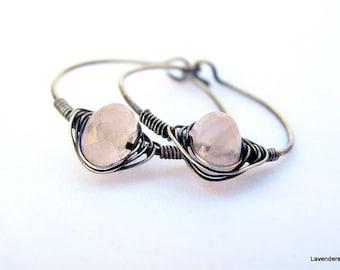 Rose Quartz Earrings , Sterling Silver Earrings , Rose Quartz Hoop Earrings , Oxidized Silver , Wire Wrapped