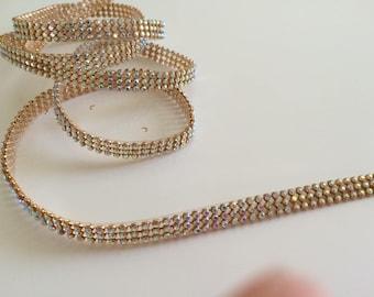 Crystal Ribbon, Crystal trim, length 120 cm * 1 cm gold
