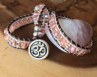 Om Baby Pink Czech Glass Leather Wrap/Choker
