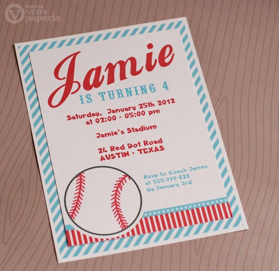 Diy printable invitation card sport baseball birthday party stopboris Image collections