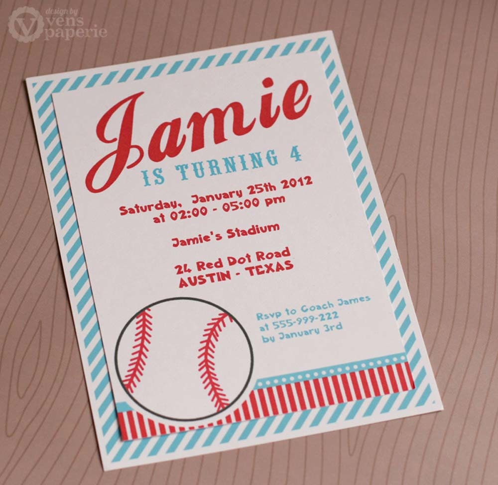 DIY PRINTABLE Invitation Card Sport Baseball Birthday Party