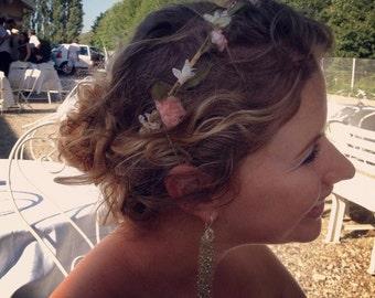 Hair Accessories flower crown pale Pink -Whispers- Bride Blush Wedding bridal photo prop faux circlet headwreath couronne fleurs  garland