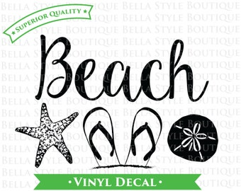 Beach Flip Flops Starfish Sand Dollar Shells Summer Ocean VINYL DECAL