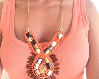 Tribal necklace, Ethnic jewelry, Orange necklace, Rope necklace, Neotribal necklace, Boho jewelry, Bohemian jewelry, Gypsy necklace, Gypset