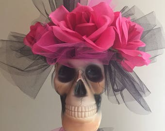 Blooming Skull Magenta Pink Rose Creepy Macabre Goth Pirate wedding prom centerpiece Bouquet