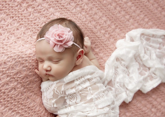 White stretch lace swaddle wrap AND / OR pink chiffon headband for newborn photo shoots, bebe foto, baby swaddle, by Lil Miss Sweet Pea