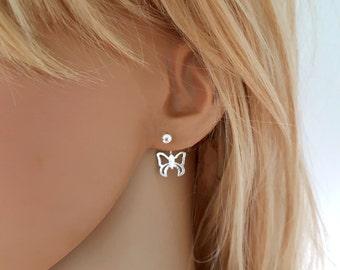 Silver butterfly earrings, butterfly ear jacket earrings sterling silver, minimalist ear cuff