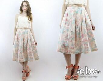 Midi Skirt Knee Skirt Pink Floral Skirt High Waisted Skirt Secretary Skirt 70s Skirt 1970s Skirt Pastel Skirt Pleated Skirt S M
