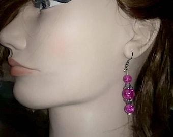 Hot Pink Drop Earrings