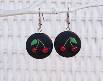 Cherry Earrings, Cherry Clay Earrings, Christmas Clay Earrings, Christmas Cherry Earrings, Fruit Clay Earrings, Clay Cherries, Handmade Clay