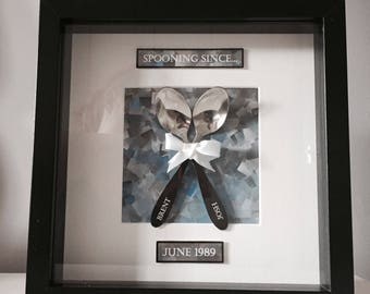 Personalised 'Spooning Since' Print with Frame