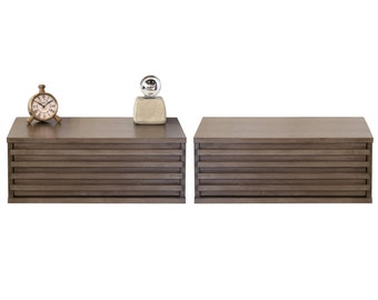 Two Modern Hanging Floating Wall Mount Nightstand Drawers - Lotus - Driftwood Gray