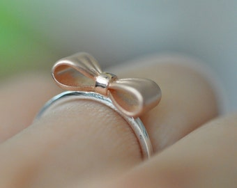 Sterling Silver Matte Rose Gold Two Tone Bow Ring, Sterling Silver Ring, Cute Jewelry, Bow Ring, Pretty Ring, Rose Gold Ring,