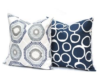 Two lndigo Blue pillow covers,  Home decor, decorative pillow, throw pillow, Medallion pillow, Navy pillow, Blue Pillow, Zig zag pillow