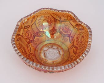 Tiny Pearlescent Orange Carnival Glass Bowl in Blaze Imperial Pattern Marigold Color