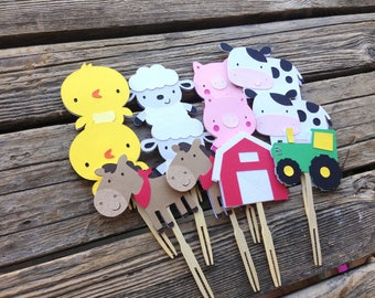 Farm Party Cupcake Toppers - Barn Animals, Barnyard Bash, Tractor Party, Birthday Party, Farm Party, First Birthday