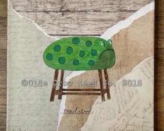 Whimsical Frog Toad Toadstool Painting 10x10 Original Folk Art Mixed Media