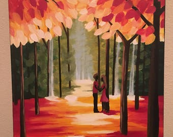Abstract Acrylic Canvas Painting - A couple in love in a meadow