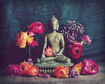 "Buddha Wall Art Print, Meditation Art, Yoga Room Decor, Ranunculus Flowers, Charcoal Gray Gold ""Buddha Offering"""