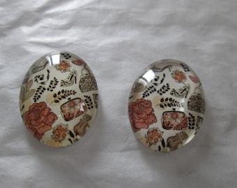 2 cabochons glass 25 x 18 mm fashion pattern
