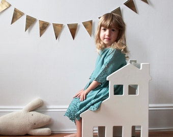 Children's Chair Split Level in White, Natural or Blue - ready to ship - dollhouse from the Neighborhood Collection by Paloma's Nest