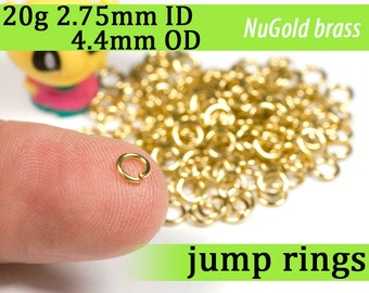 20g 2.75mm ID 4.4mm OD NuGold brass jump rings -- 20g2.75 open jumprings
