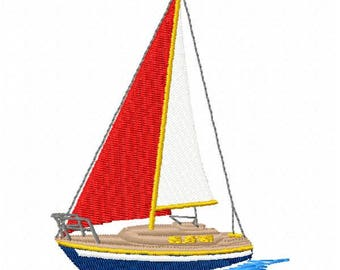 Sail Boat Machine Embroidery Design - Instant Download