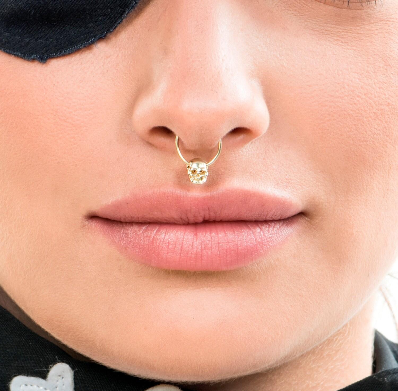 Gold Septum Ring Silver Septum Skull Septum Jewelry