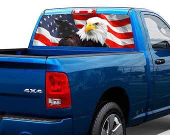 American Eagle flag United States Rear Window Graphic Decal Sticker Truck SUV