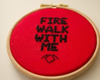 Twin Peaks cross-stitch pattern, Fire Walk With Me, FWWM, geeky cross stitch chart, downloadable PDF pattern for David Lynch fans