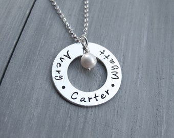 Sterling Silver Mothers Necklace Name Necklace Silver Washer Personalized Jewelry Hand Stamped New Baby Necklace Grandmothers Necklace