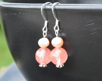 Earrings: Cherry Blossoms - Cherry Quartz and Pink Freshwater Pearls