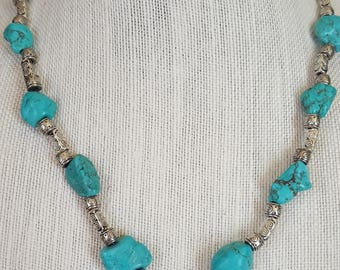 ladies turquoise and silver chunky necklace