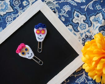 Day of the Dead sugar skull planner clips | calavera paper clips | Dia de los Muertos clip