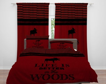 Rustic Moose Bedding, Red Comforter or  Duvet Cover, Twin  Full Queen King, Life Is Better In The Woods, Lumberjack Plaid