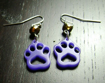Paw Print Dangle Earrings in Purple and Gold