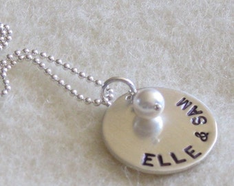 SIMPLICITY hand stamped necklace, name jewelry, engraved hand stamped mom necklace