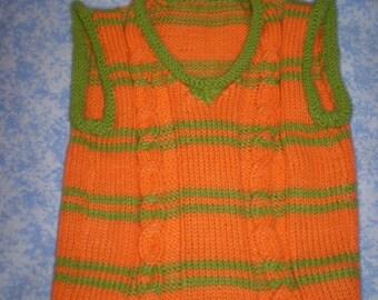 Orange and Pistacho Vest fot 6-12 months baby