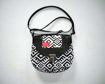 bag with leather flap and buckle satchel