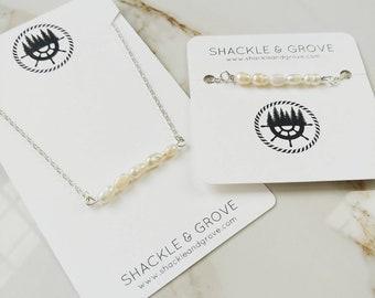 Freshwater Pearl Dainty Necklace and Bracelet // Beaded Bar Necklace // Bar Bracelet // Jewelry Set