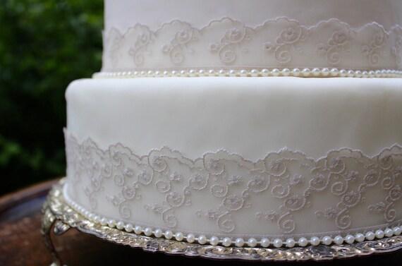 Vintage Grey Lace & Pearl Wedding Cake Topper Set. Pearl Trim ...