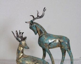 Vintage Reindeer Statues, Reindeer Figurines, Set of 2, One standing, One Laying Down, Gold Leaf with Turquoise Patina Look, Deer Figurines